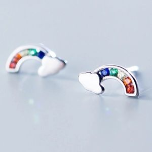 Sterling Silver Rainbow CZ Pave Earrings